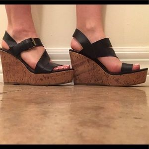 Shoes - Black missimo leather wedges